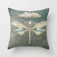 Dragonfly of the moon Throw Pillow