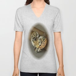 Steampunk Heart of Gold and Silver Unisex V-Neck