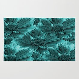 Turquoise Floral Abstract Rug