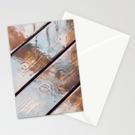 It's Raining! Beautiful Abstract Photography of Rain Falling on Redwood Deck Stationery Cards