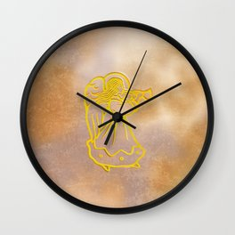 Golden Angel with trumpet Wall Clock