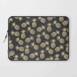 Modern chalk black elegant faux gold pineapple pattern Laptop Sleeve