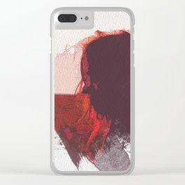 Sunset Girl Clear iPhone Case