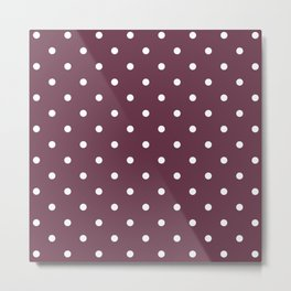 Polka Dots Pattern: Burgundy Metal Print