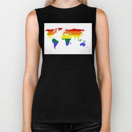 LGBT World (Gay Pride Flag) Biker Tank