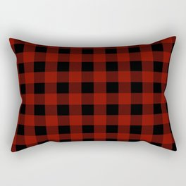 Vintage New England Shaker Large Barn Red Buffalo Check Plaid Rectangular Pillow