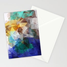 Abstract background of triangles polygon print. Bright design colors Stationery Cards