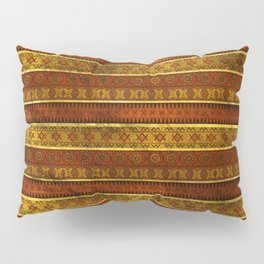 African Ethnic Tribal Pattern in golds and brown Pillow Sham