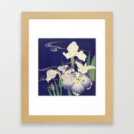 Irises byTsukioka Kôgyo Japanese Woodcut Framed Art Print