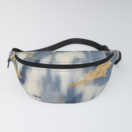 Blue and Gold Ikat Pattern Abstract Fanny Pack