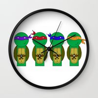 teenage mutant ninja turtles Wall Clocks featuring Teenage Mutant Ninja Turtles by Jen Talley