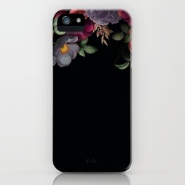 Vintage & Shabby Chic - Night Antique Redoute Roses Frame On Black iPhone Case