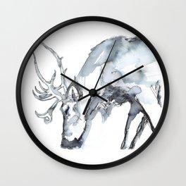 Watercolor Reindeer Sketch Wall Clock
