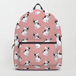 Single hooded pied Frenchie is excited for the playtime Backpack