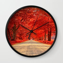 Red Forest Autumn Path Wall Clock