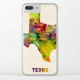 Texas Watercolor Map Clear iPhone Case