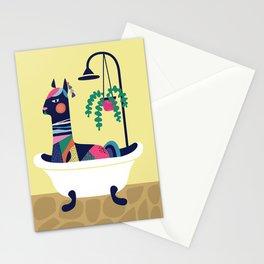 Llama in the tub Stationery Cards