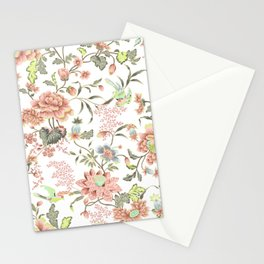 dainty cottagecore floral packed pattern - peach/pink Stationery Cards