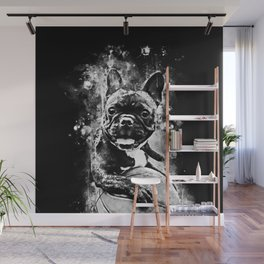 french bulldog basketball splatter watercolor black white Wall Mural