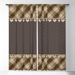Brown plaid, plaid blanket, brown pattern, patchwork, folklore, rustic style, elegant pattern, plaid Blackout Curtain