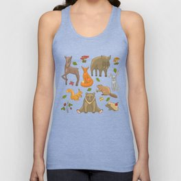 Funny forest animals set Unisex Tank Top