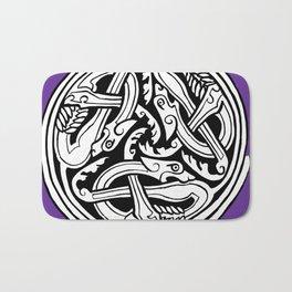 Celtic Art - Dog Triskele - on Purple Bath Mat