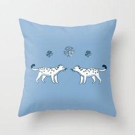 snow leopard pals Throw Pillow