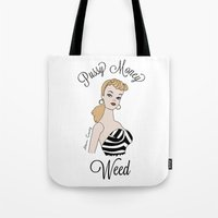 barbie Tote Bags featuring Barbie  by Steven Crissey