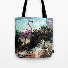Palm trees and flamingos Tote Bag
