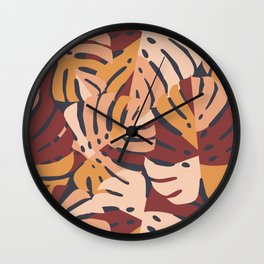 Color Block Monstera Leaves in Maroon Wall Clock