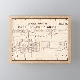 Map Of Palm Beach, Florida 1942 Framed Mini Art Print