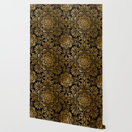 Sophisticated Black and Gold Art Deco Pattern Wallpaper