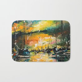 Harbor in sunset Bath Mat