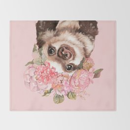 Baby Sloth with Flowers Crown Throw Blanket