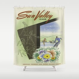 Vintage poster - Sun Valley, Idaho Shower Curtain