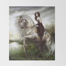 Morning welcome - Royal redhead girl riding a white horse Throw Blanket