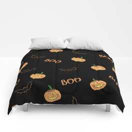 Halloween bat and pumpkin Comforters