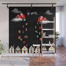 illustrations santa merry christmas Wall Mural