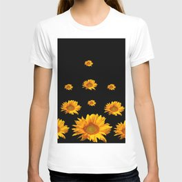 RAINING GOLDEN YELLOW SUNFLOWERS BLACK COLOR T-shirt