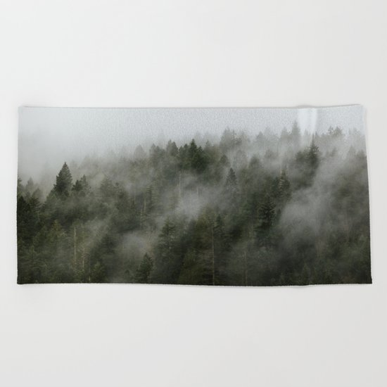 Pacific Northwest Foggy Forest Beach Towel