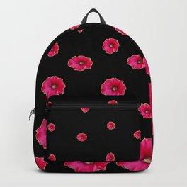 CERISE PINK HOLLYHOCKS  LOVERS BLACK PATTERNED ART Backpack
