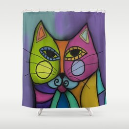 Calico Cat Colorful Abstract Digital Painting  Shower Curtain