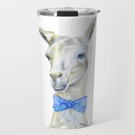 Llama with a Bow Tie Watercolor Travel Mug