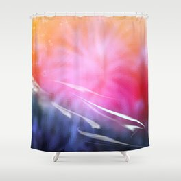 Abstract Coral & Deep Sea Seascape. Sunset & Sunrise colours. Shower Curtain