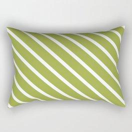 Olive Diagonal Stripes Rectangular Pillow