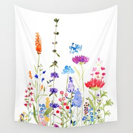 colorful wild flowers watercolor painting Wall Tapestry