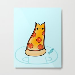 Purrpurroni and Cheese - Pizza Cat Metal Print