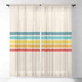 Summer Sun Retro Stripes Sheer Curtain