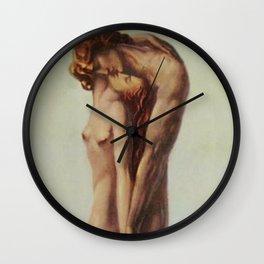 'Les Deux Amoureux au bout du Monde' Portrait Painting by Louis Rigal Wall Clock