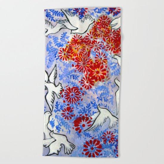 Floral Doves Beach Towel